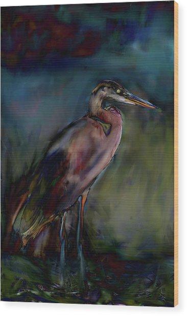 Blue Heron Painting II Wood Print
