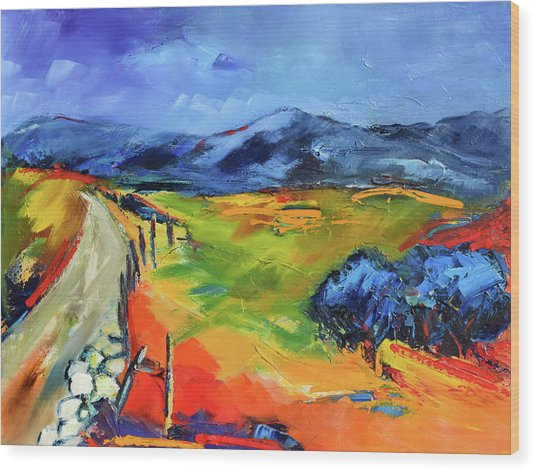 Blue Hills By Elise Palmigiani Wood Print