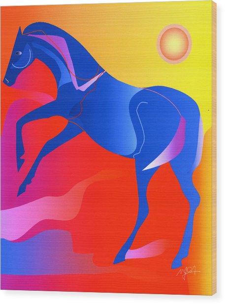 Blue Horse Wood Print