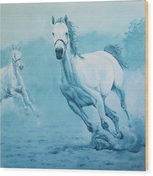 Blue Horses Wood Print by Willem Arendsz