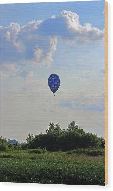 Wood Print featuring the photograph Blue Hot Air Balloon by Angela Murdock
