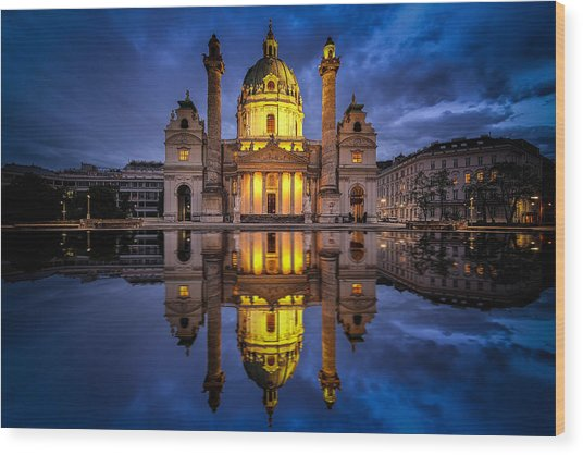 Blue Hour At Karlskirche Wood Print
