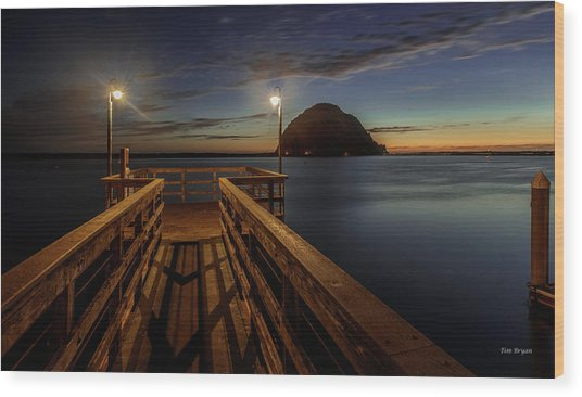 Blue Hour At Morro Bay Wood Print