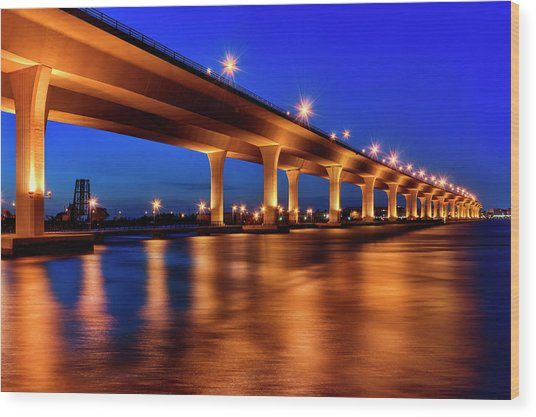Blue Hour At Roosevelt Bridge In Stuart Florida  Wood Print