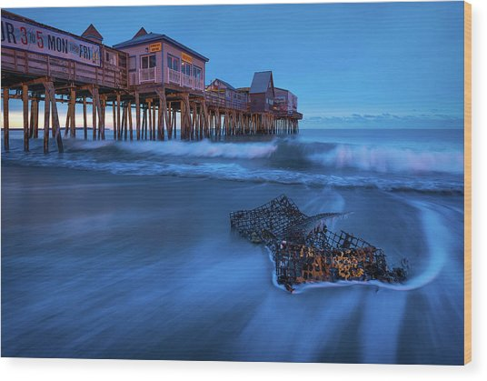 Blue Hour At The Old Orchard Beach Pier Wood Print by Jeff Bazinet
