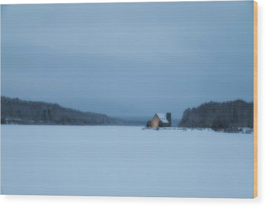 Blue Hour At The Old Stone Church Wood Print