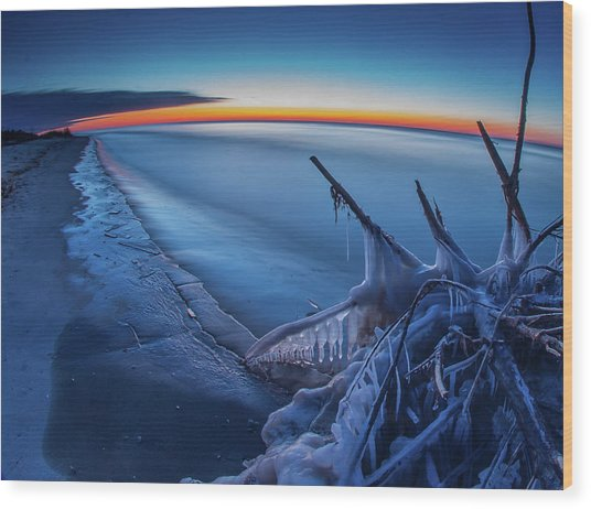 Blue Hour Fisheye Wood Print