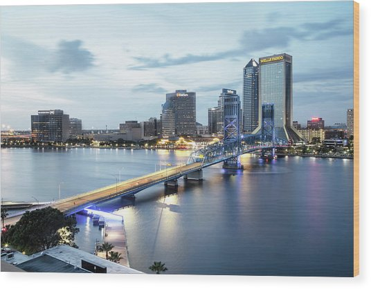 Blue Hour In Jacksonville Wood Print