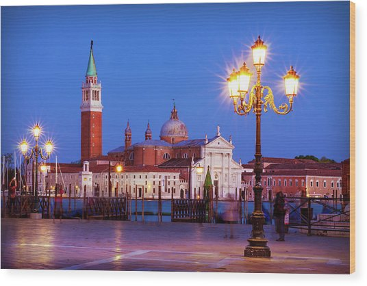 Wood Print featuring the photograph Blue Hour In Venice by Barry O Carroll