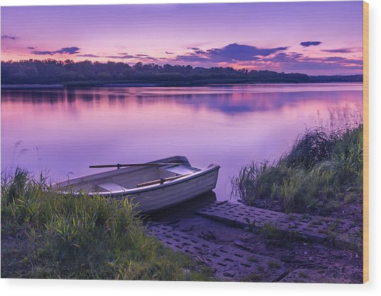 Blue Hour On The Vistula River Wood Print