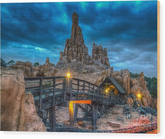 Blue Hour Over Big Thunder Mountain Wood Print