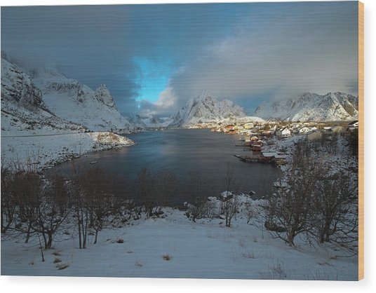 Blue Hour Over Reine Wood Print