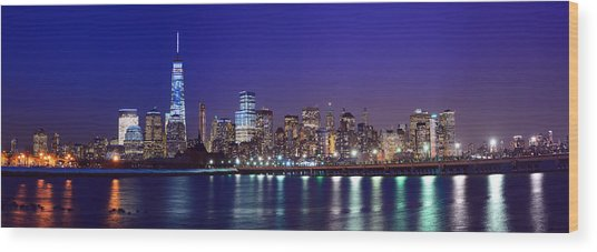 Blue Hour Panorama New York World Trade Center With Freedom Tower From Liberty State Park Wood Print