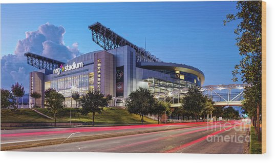 Blue Hour Photograph Of Nrg Stadium - Home Of The Houston Texans - Houston Texas Wood Print