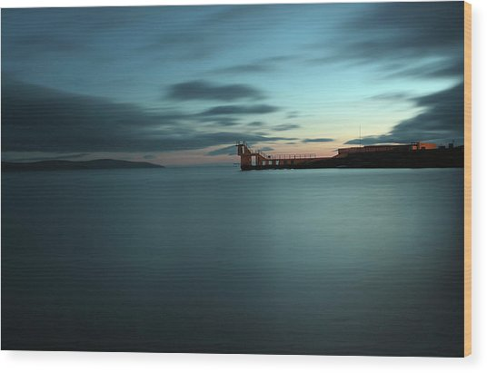 Blue Hour Salthill Wood Print