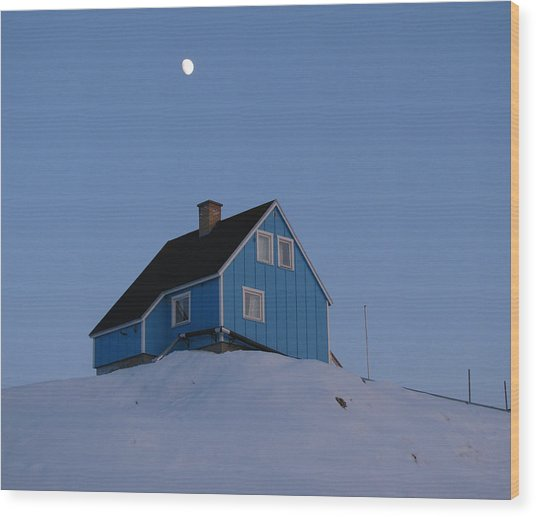 Blue House With Moon Wood Print by Sidsel Genee
