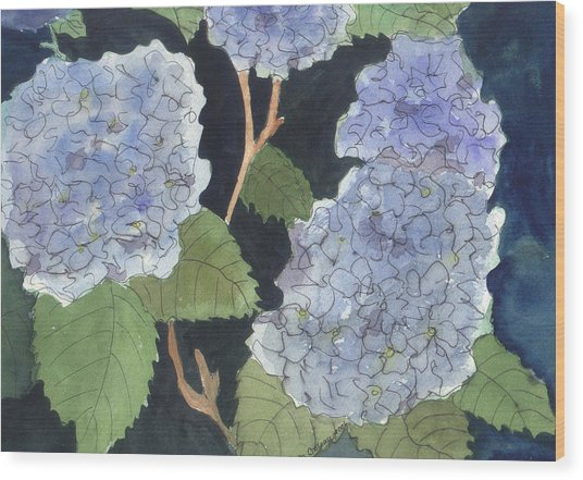 Wood Print featuring the painting Blue Hydrangea by Jane Croteau