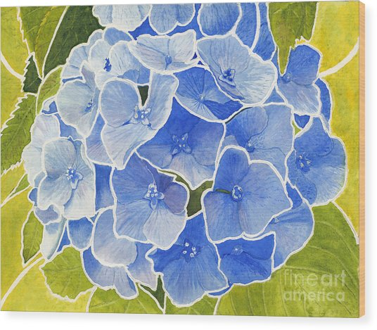 Blue Hydrangea Stained Glass Look Wood Print