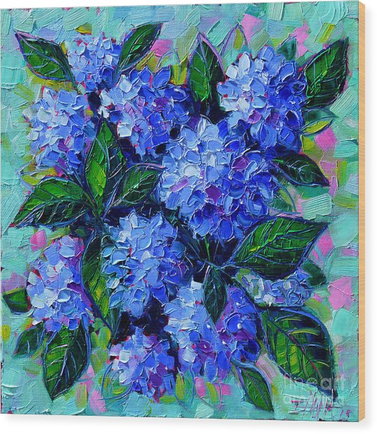 Blue Hydrangeas - Abstract Floral Composition Wood Print