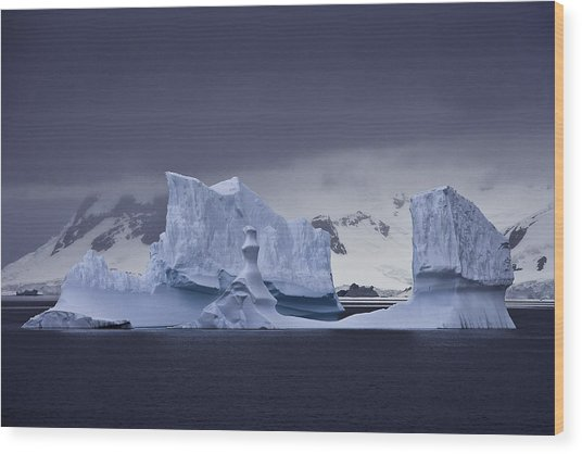 Blue Ice Antarctica Wood Print