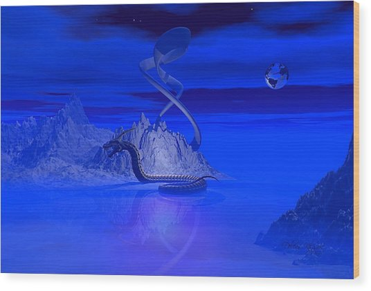 Blue Ice World Dragon Wood Print