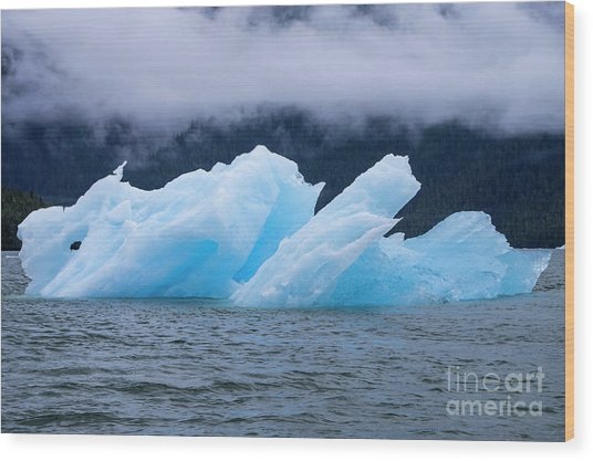 Blue Iceberg Wood Print
