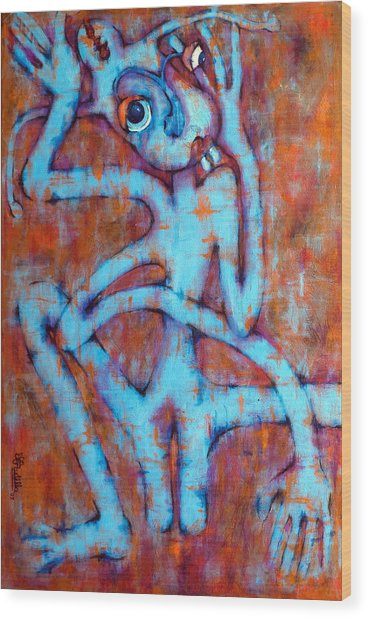 Blue Instinct Wood Print by Claudia Padilla