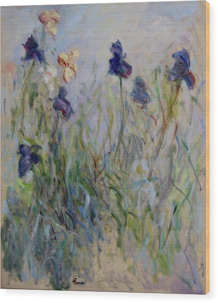 Blue Irises In The Field, Painted In The Open Air  Wood Print