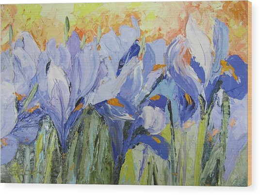 Blue Irises Palette Knife Painting Wood Print