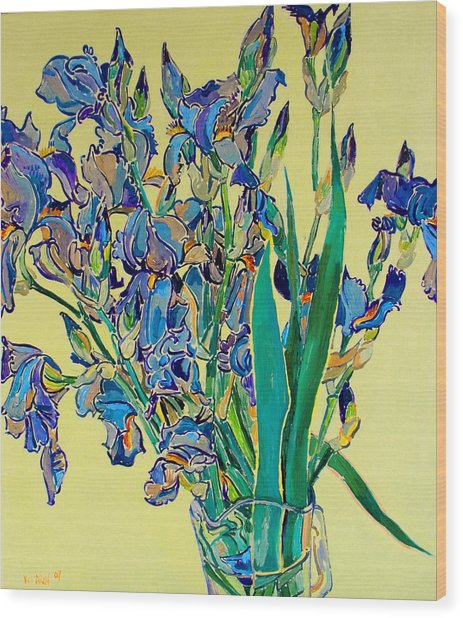 Blue Irises Wood Print by Vitali Komarov