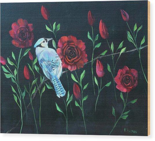 Blue Jay In Rose Bush Wood Print