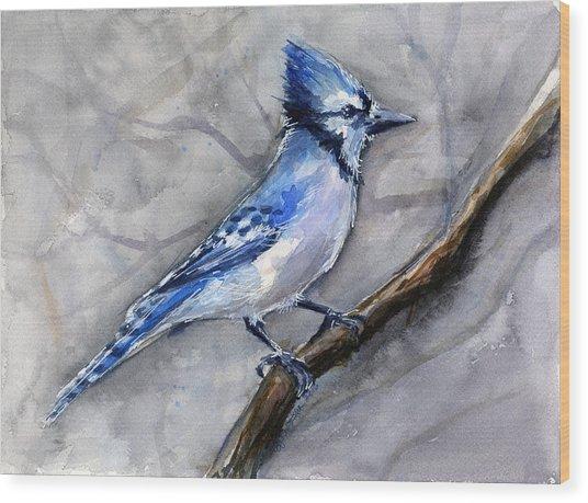 Blue Jay Watercolor Wood Print