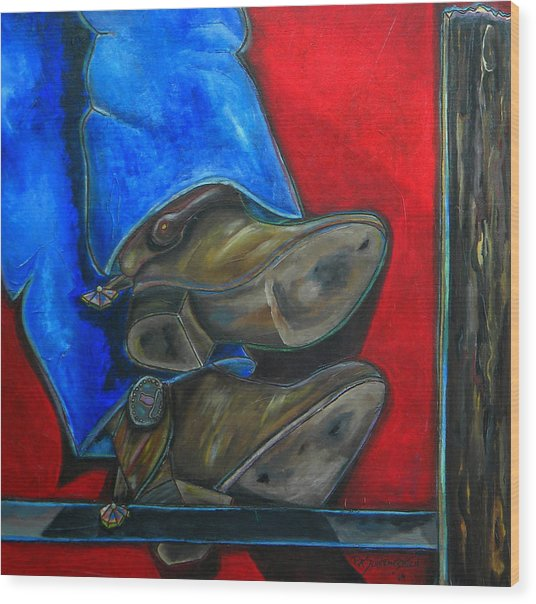 Blue Jeans And Boots Wood Print by Patti Schermerhorn