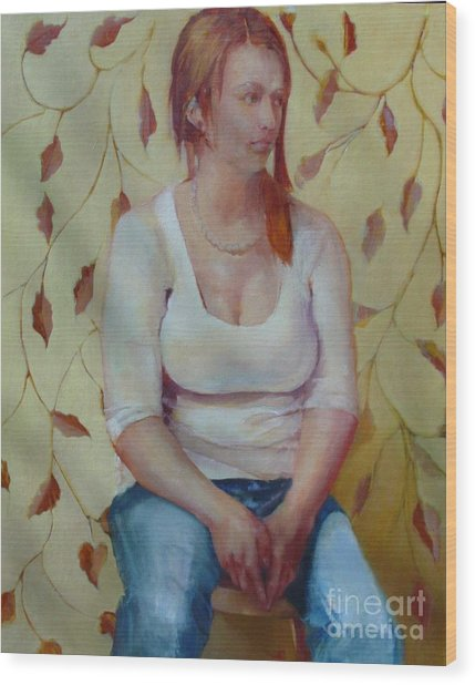 Blue Jeans Girl              Copyrighted Wood Print by Kathleen Hoekstra