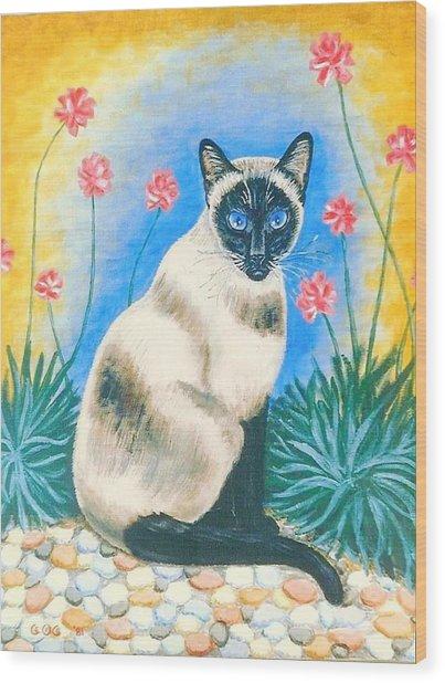 Blue Kitty Wood Print