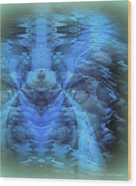 Wood Print featuring the digital art Blue Kitty by Visual Artist Frank Bonilla