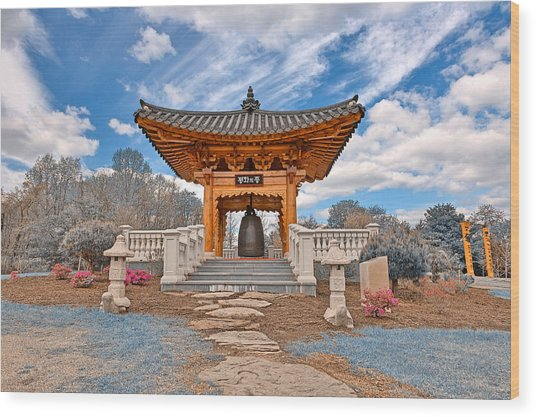 Blue Korean Bell Garden Wood Print