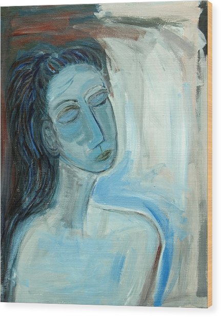 Blue Lady Abstract Wood Print by Maggis Art