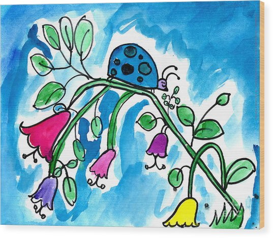 Blue Ladybug Wood Print