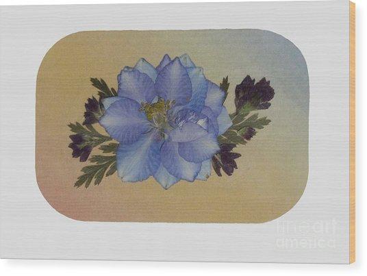 Blue Larkspur And Oregano Pressed Flower Arrangement Wood Print
