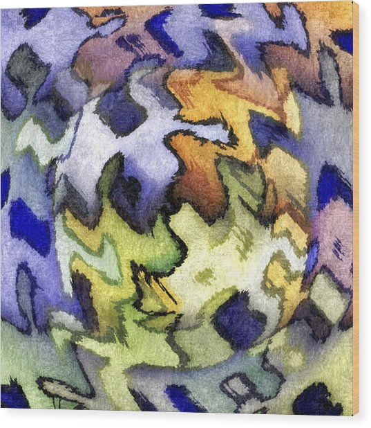 Blue Leopard Skin Wood Print by Terry Mulligan