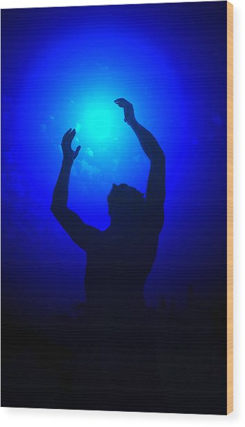 Blue Light Special Wood Print