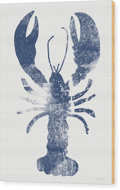 Blue Lobster- Art By Linda Woods Wood Print