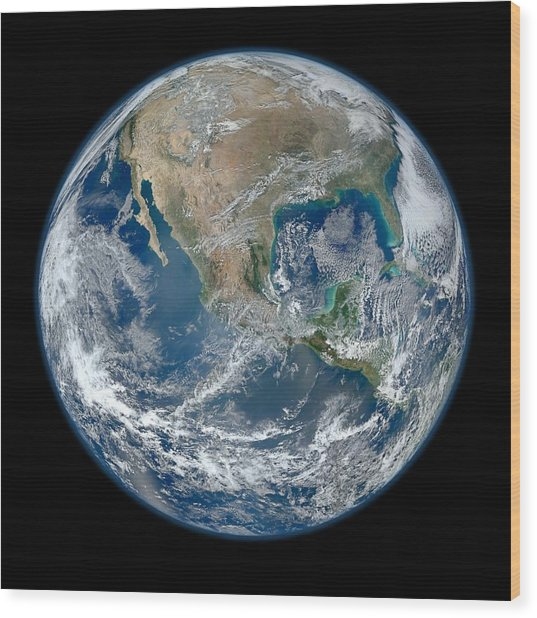 Wood Print featuring the photograph Blue Marble 2012 Planet Earth by Nikki Marie Smith