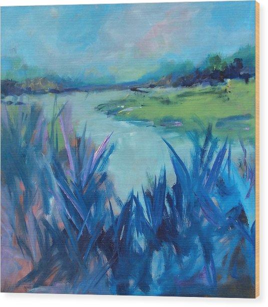 Blue Marsh Wood Print