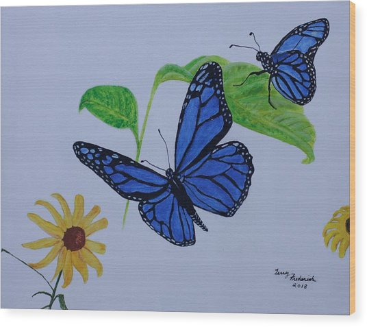 Blue Monarch Wood Print