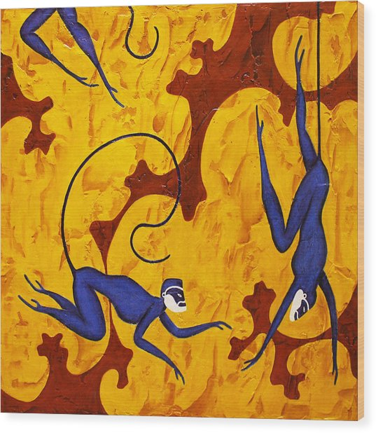 Blue Monkeys No. 45 Wood Print