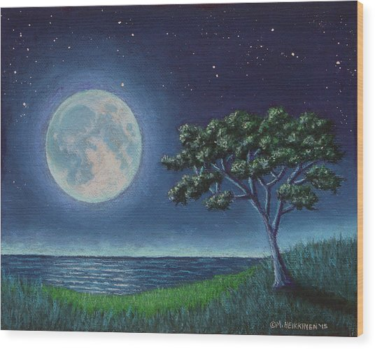 Blue Moon 01 Wood Print