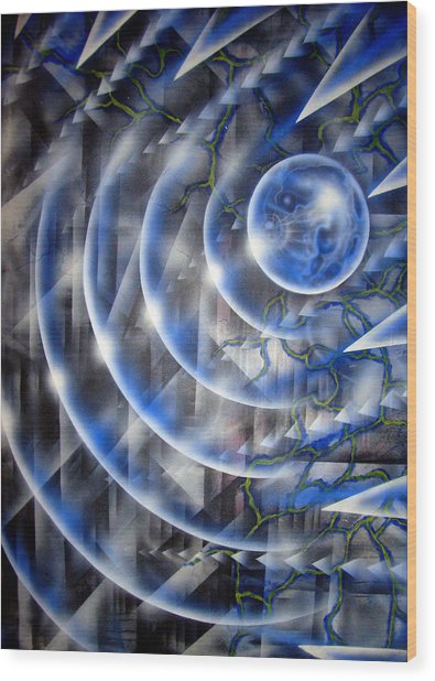 Blue Moon Falling Wood Print by Leigh Odom