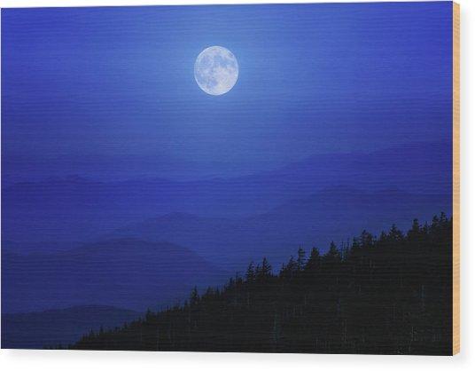Blue Moon Over Smoky Mountains Wood Print